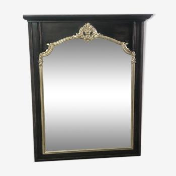 Miroir trumeau en bois noir et argenté patiné de style Louis XV