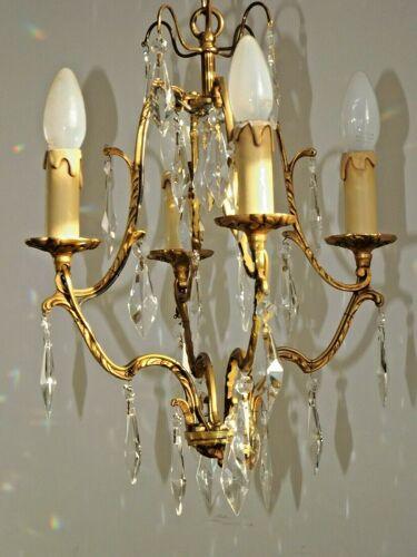 Lustre de cage en laiton et cristal de style art nouveau français