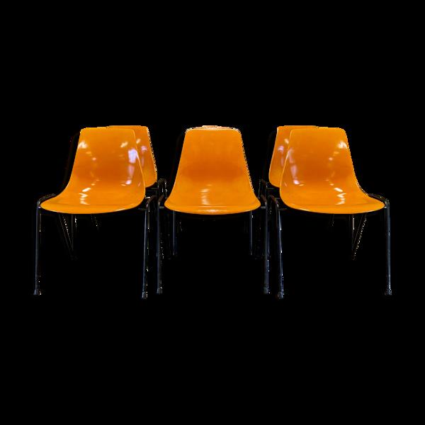 Selency Ensemble de six chaises Georg Leowald 1960.