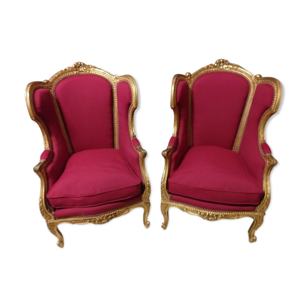 Selency Paire de bergères style Louis XV en bois doré XlX