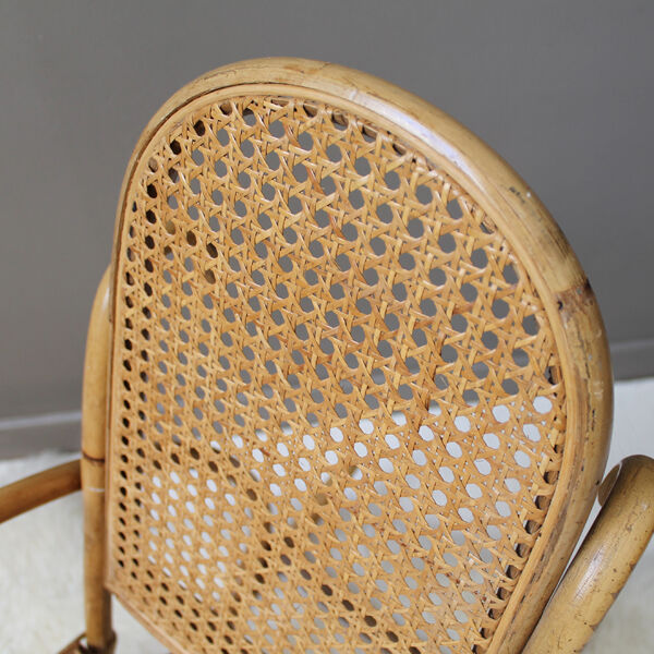 Rocking chair enfant rotin vintage