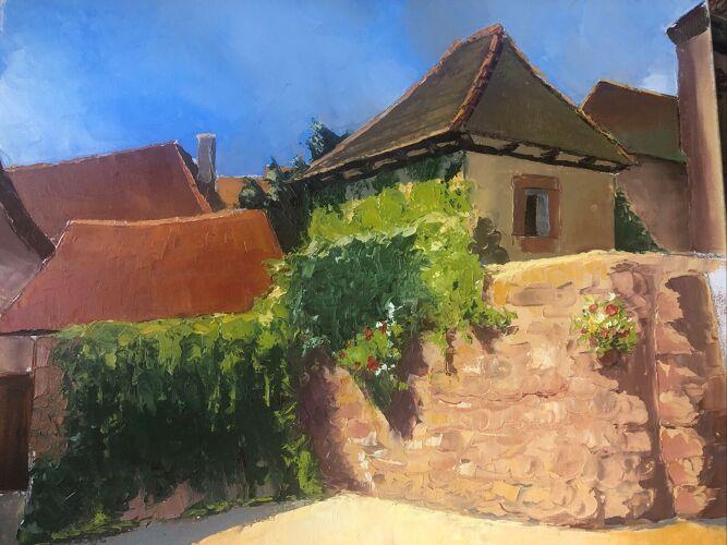 Tableau toits rouges en Alsace signée Stéphane Truxler