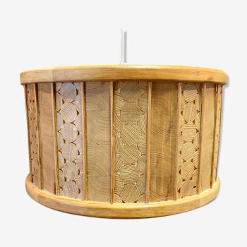Scandinavian solid wood hanging lamp 1950
