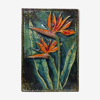 Plaque Murale décorative emaillée fleur exotique Karlsruhe