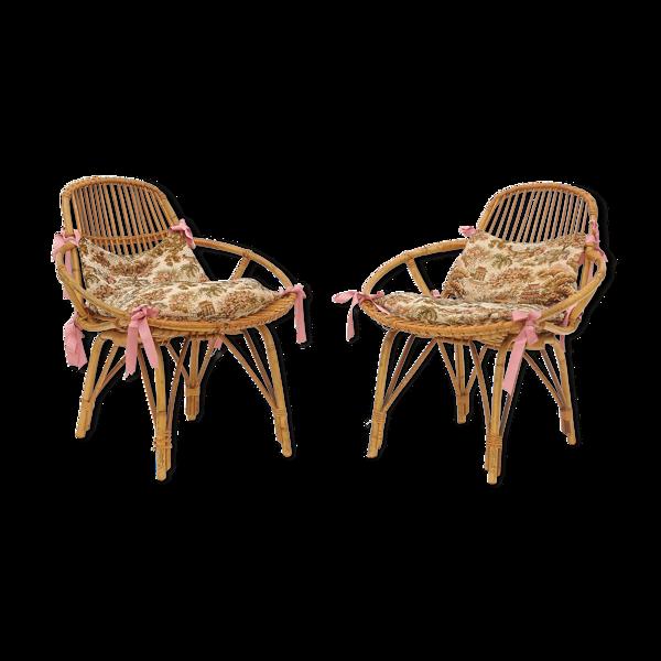 Paire de fauteuils rotin vintage