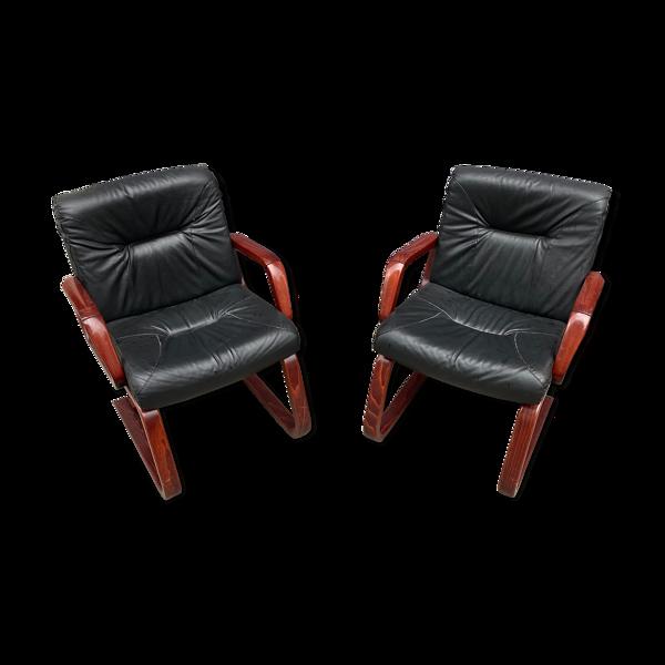 Paire de fauteuils vintage bois et cuir 1980