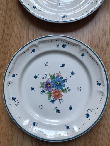 Lot de 6 assiettes fleuries années 80