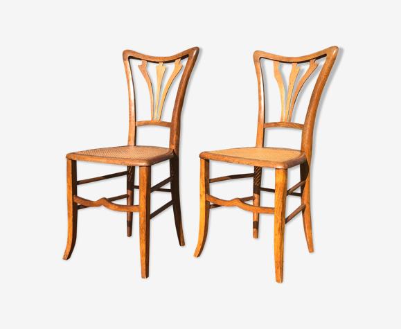 Paire de chaises cannage art nouveau