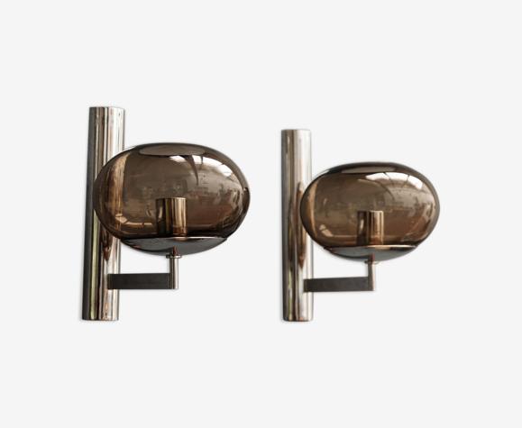 Paire d'appliques en métal chromé, vintage années 70, maison Sciolari