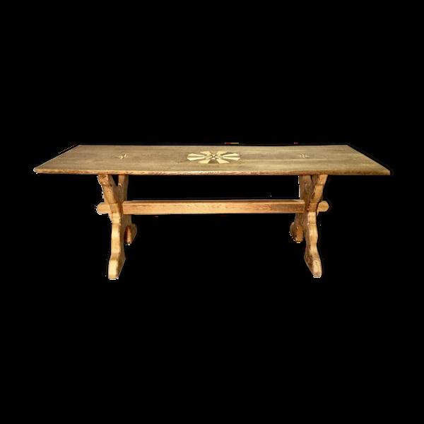 Selency Table pied en x, dessus marqueté rosace et rose des vents