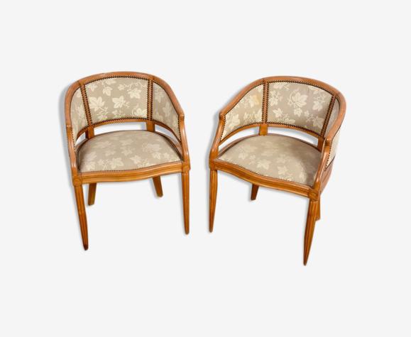 """Paire de fauteuils """"gondole"""" Art Déco en bois naturel"""