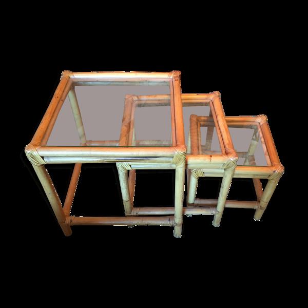 Tables gigogne en bambou et verre