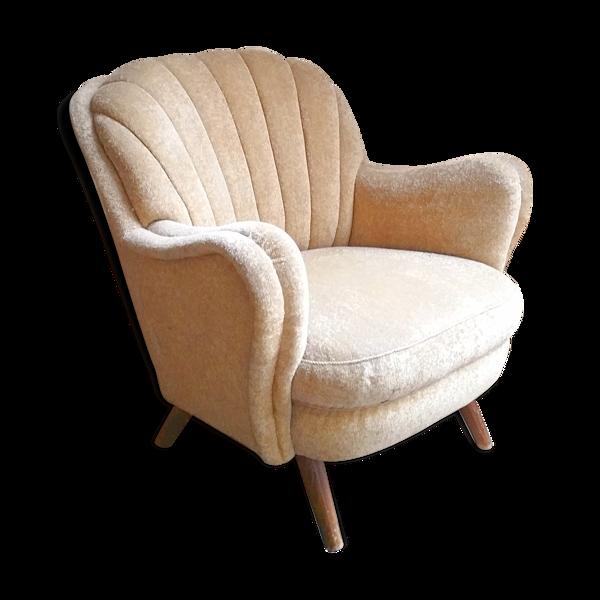 Fauteuil Club des années 40 50 original mid century Jaune beige vintage