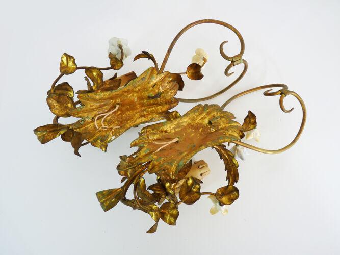 Paire d'appliques murales italienne Bassano en métal doré, année 50