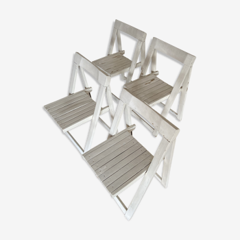 Ensemble de 4 chaises pliantes en bois blanc