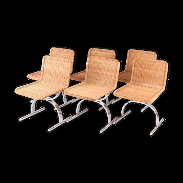 Suite de 6 chaises osier et chrome