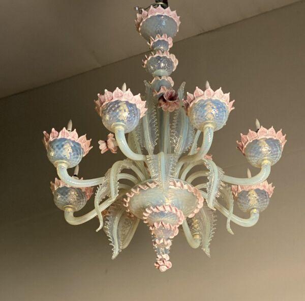 Lustre en verre de murano bleu opaline et rose, 8 bras de lumière