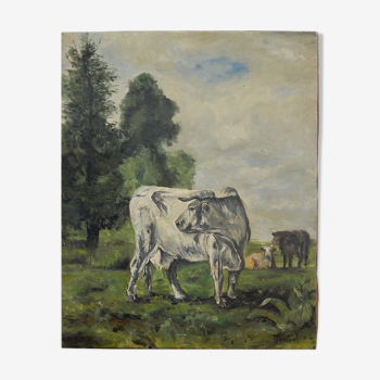 Huile sur toile peinture troupeau de vaches au pré
