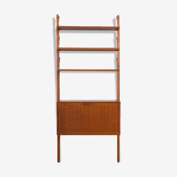 Poul Cadovius wall unit  in teak with secretaire and 3 shelves Denmark, 1960.