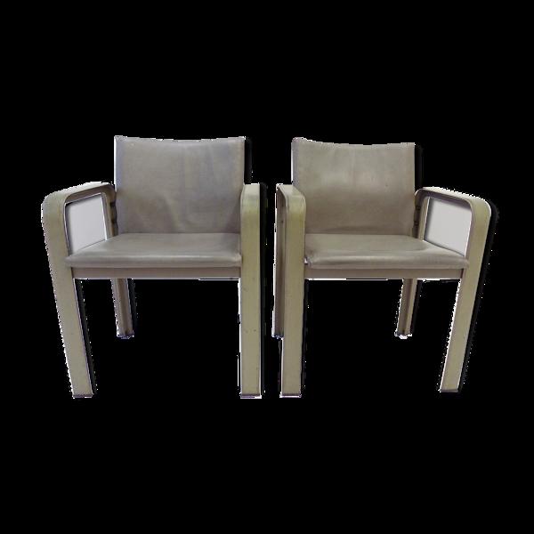 Lot de 2 fauteuils en cuir Matteo Grassi Golfo Dei Poeti