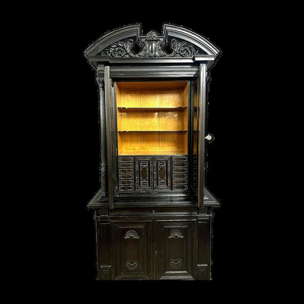 Cabinet bargueno de collectionneur Renaissance en bois noirci et incrustations de nacre vers 1850