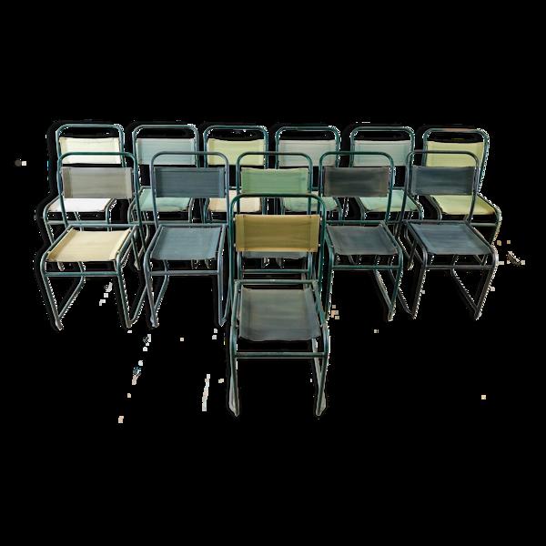 Selency Set de 12 chaises industrielles en métal et tissu militaire
