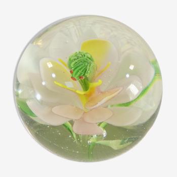 Sulfure presse-papier fleur de nénuphar avec grenouille