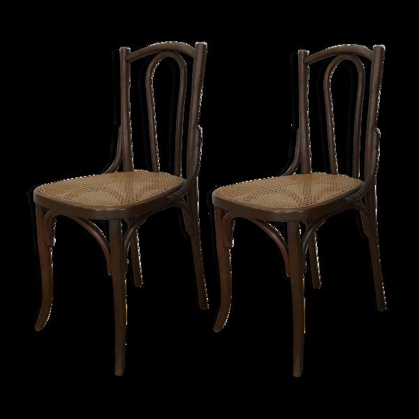 Set 2 chaises bistrots en bois courbé et cannage