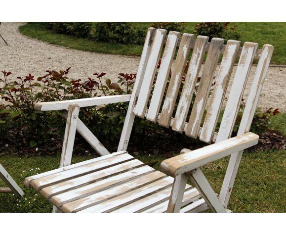 Lot de 3 fauteuils de jardin pliants en bois - vintage