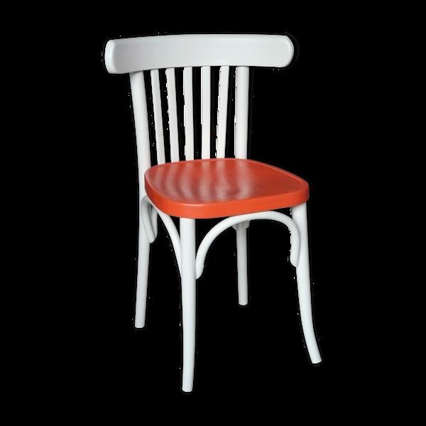 Chaise bistrot gris pâle et orange