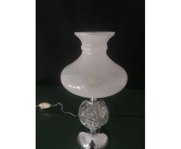 Lampe à poser en verre ciselé et métal chromé, années 70