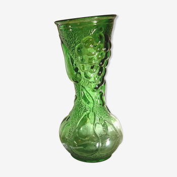 Vase en verre vert motif fruits en relief Made in Italy