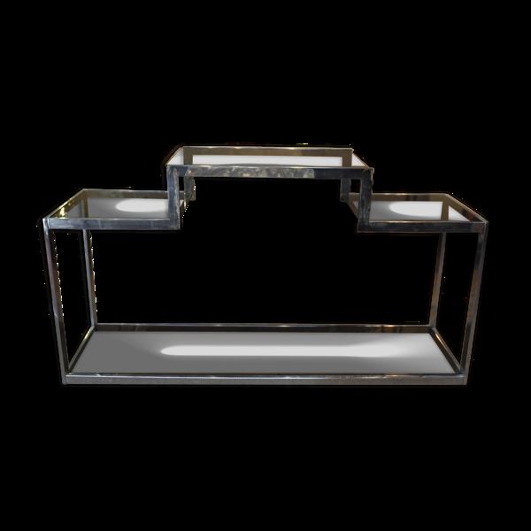 Console design en métal chromé et verre fumé 1970