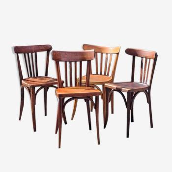 Lot 4 chaises bistrot en bois courbé années 40/50