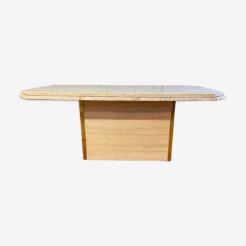 Table basse travertin et laiton
