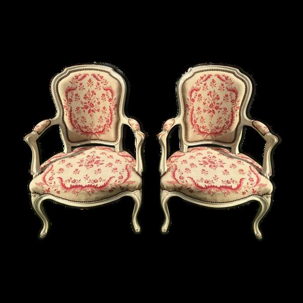 Selency Paire de fauteuils cabriolets laqués d'époque Louis XV XVIIIe