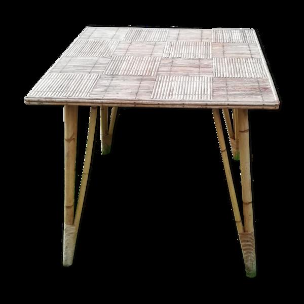 Table en rotin années 1960
