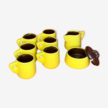 Service à café faïence jaune