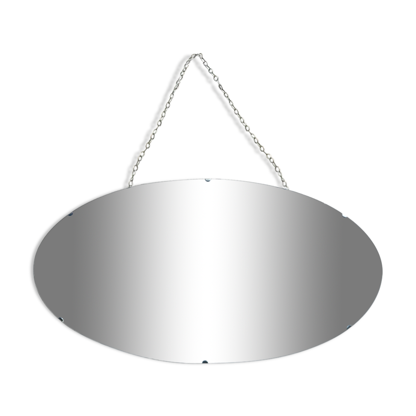 Miroir sans cadre art déco avec bord et chaîne biseauté décoratifs  65x36cm