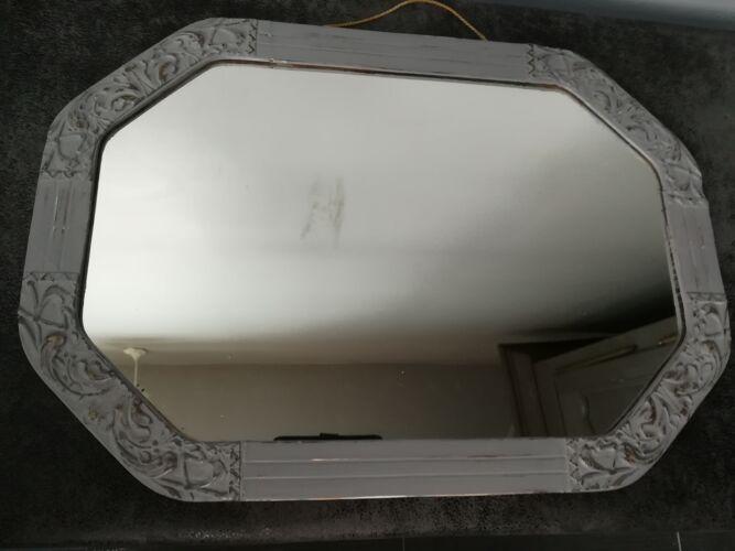 Miroir ancien patiné gris 51x36cm