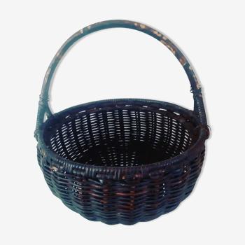 Panier vintage en osier de couleur ébène