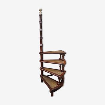 Escalier de bibliothèque en colimaçon anglais XXe en acajou à quatre marches