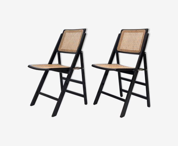 Paire de chaises en cannage vintage