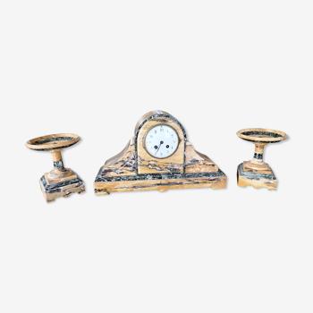 Garniture de cheminée pendule marbre