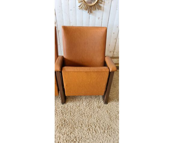 Paire de fauteuils de cinéma vintage