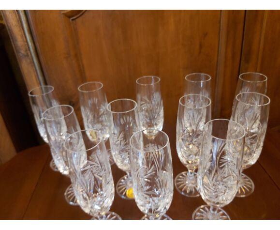 12 flûtes à Champagne cristal Les Grands