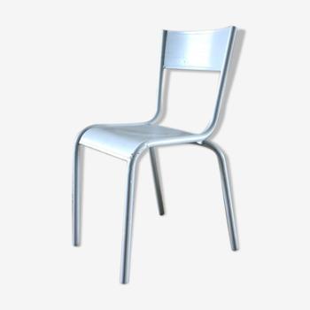 Chaise vintage grise métal et bois
