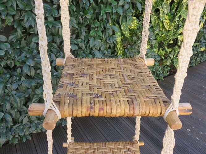Porte plante en macramé rotin et bambou années 70