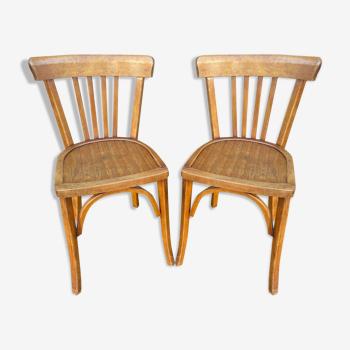 Paire de chaises bistrot bois courbé vintage