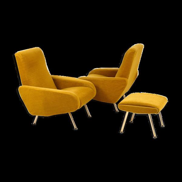Selency Paire de fauteuils et repose-pied 1950
